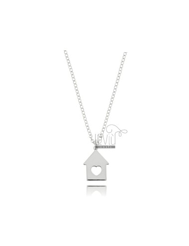 ROLO NECKLACE WITH HOUSE PENDANT IN SILVER RHODIUM TIT 925 ‰ CM 45