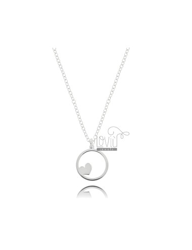 NECKLACE ROLO WITH HEART IN THE CIRCLE PENDANT IN SILVER RHODIUM TIT 925 ‰ CM 45