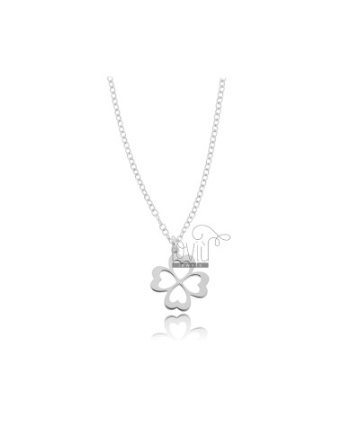 ROLO NECKLACE WITH FOUR-LEAF CLOVER IN SILVER RHODIUM TIT 925 ‰ CM 45