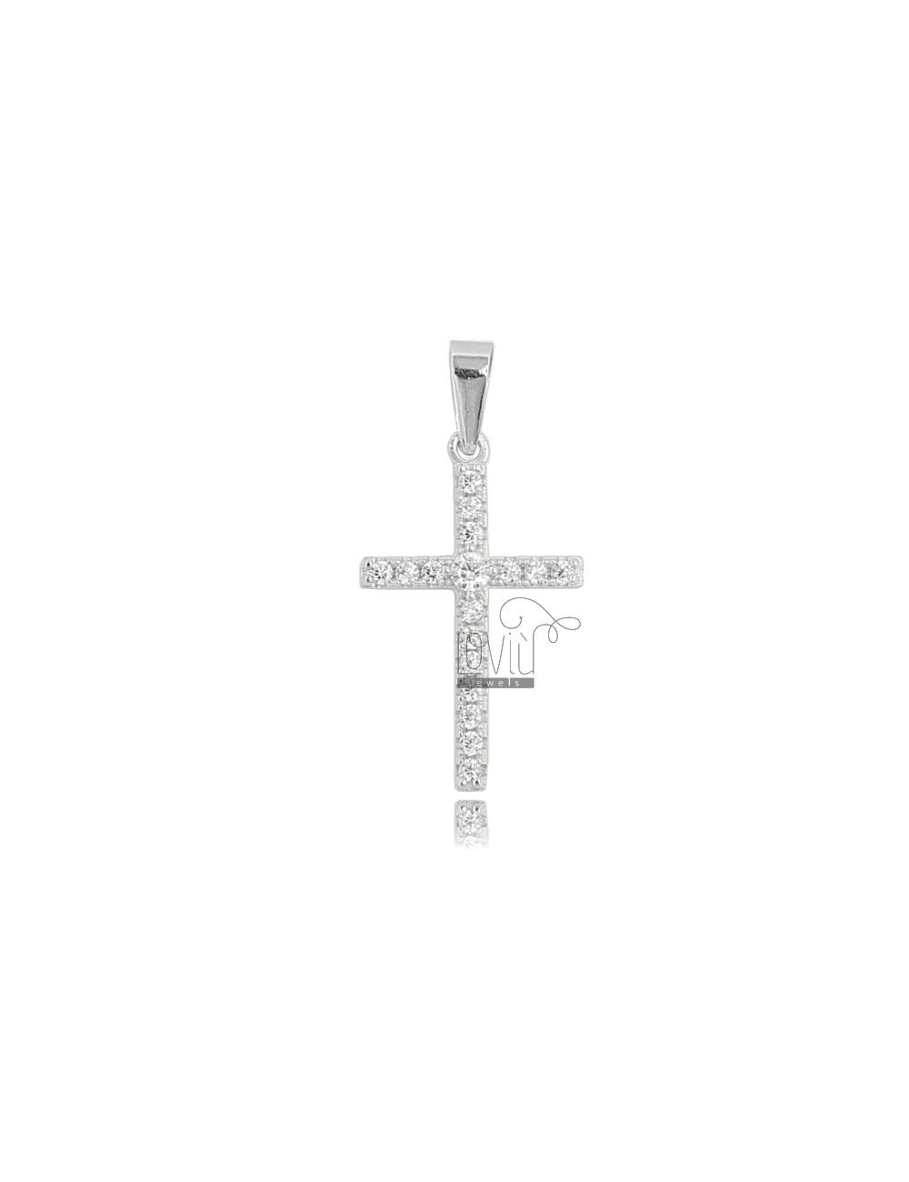CROSS PENDANT 22X14 MM SILVER RHODIUM TIT 925 AND WHITE ZIRCONIA