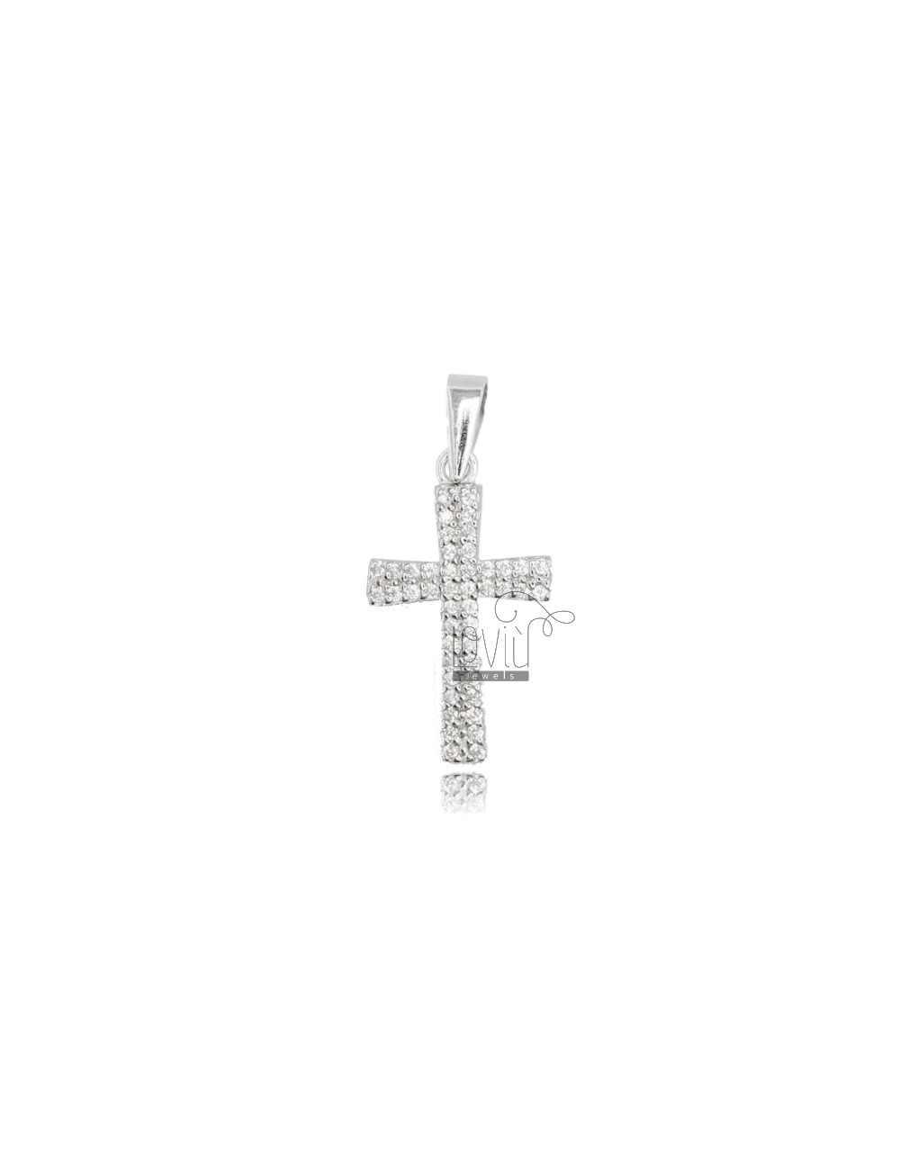 CROSS PENDANT 20X12 MM SILVER RHODIUM TIT 925 AND WHITE ZIRCONIA