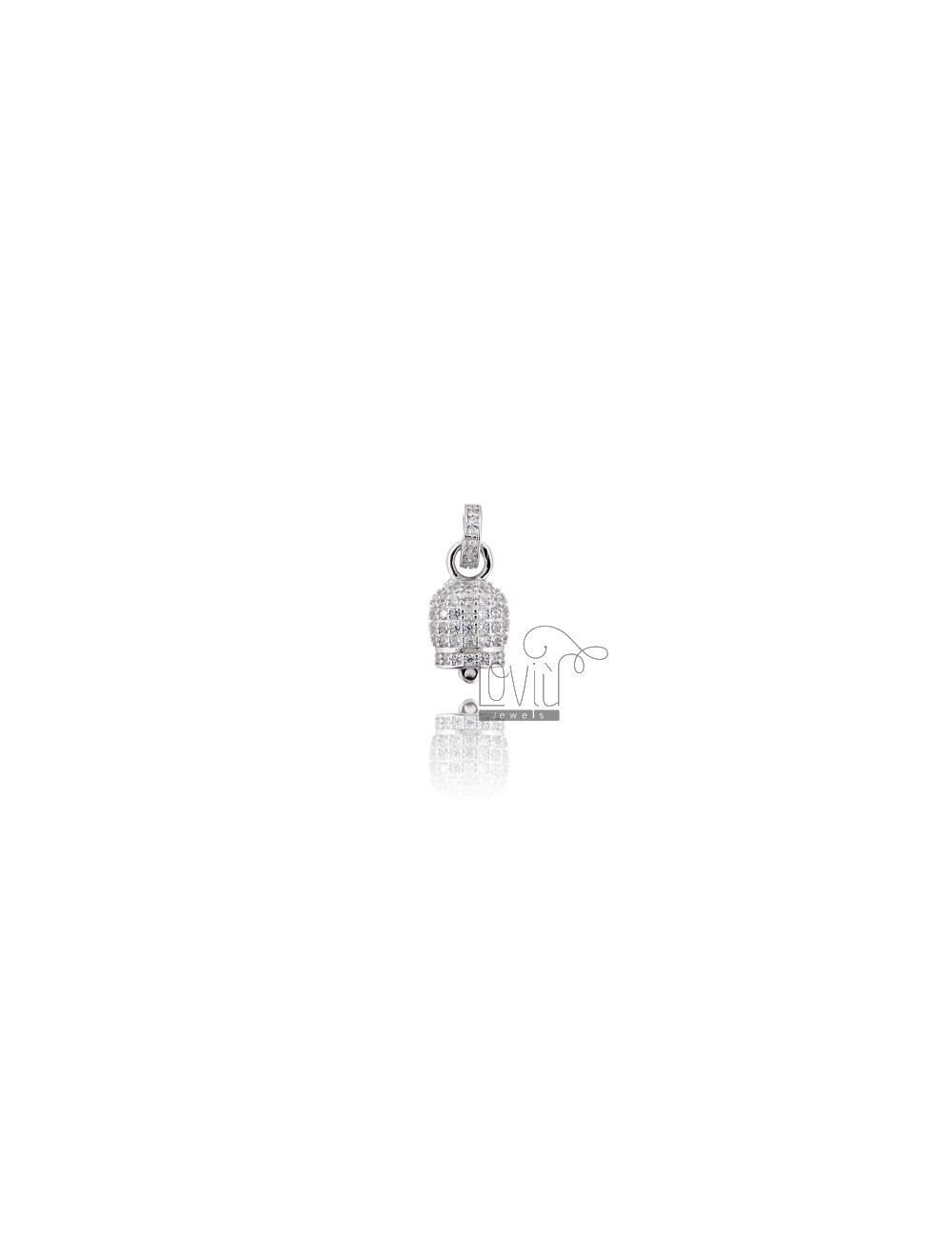 PENDANT BELL 14X8 MM SILVER RHODIUM TIT 925 AND WHITE ZIRCONIA
