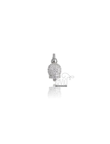 PENDANT BELL 16X10 MM SILVER RHODIUM TIT 925 AND WHITE ZIRCONIA