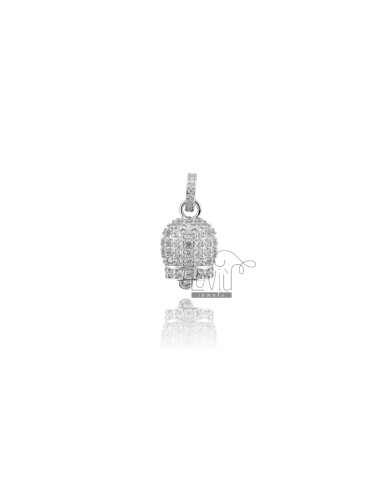 PENDANT BELL 19X11 MM SILVER RHODIUM TIT 925 AND WHITE ZIRCONIA