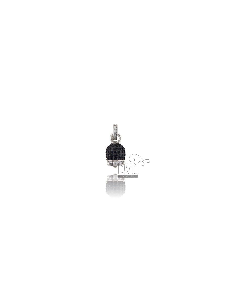 PENDANT BELL 14X8 MM SILVER RHODIUM TIT 925 AND WHITE AND BLACK ZIRCONIA