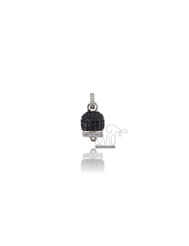 PENDANT BELL 16X10 MM SILVER RHODIUM TIT 925 AND WHITE AND BLACK ZIRCONIA