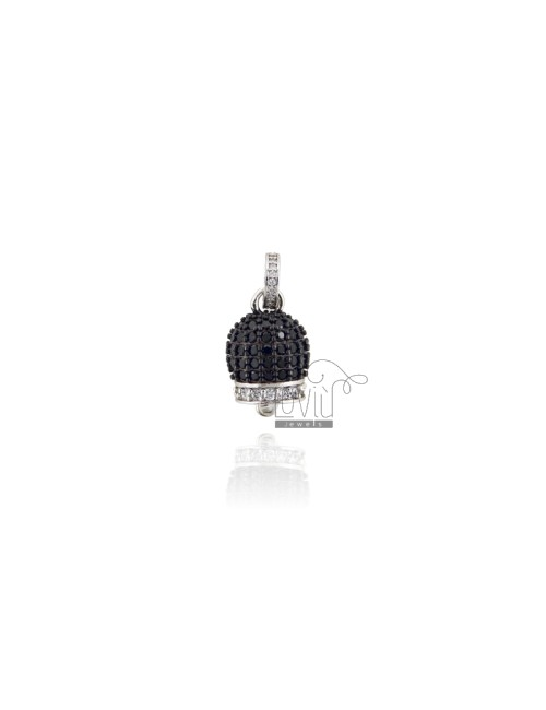 PENDANT BELL 19X11 MM SILVER RHODIUM TIT 925 AND WHITE AND BLACK ZIRCONIA