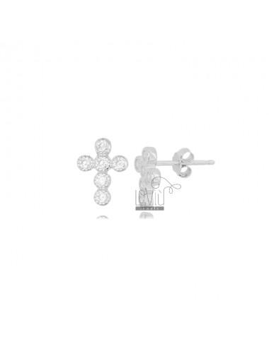 LOBO CROSS EARRINGS 11X8 MM SILVER RHODIUM TIT 925 AND WHITE ZIRCONIA
