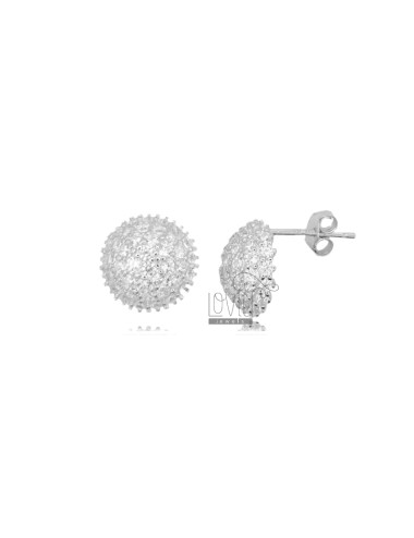 LOBO HALF SPHERE DIAM 10 EARRINGS IN SILVER RHODIUM TIT 925 AND WHITE ZIRCONIA