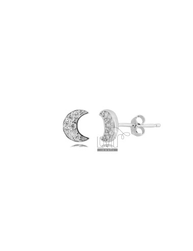 LOBO LUNA EARRINGS 8X6 MM SILVER RHODIUM TIT 925 AND WHITE ZIRCONIA