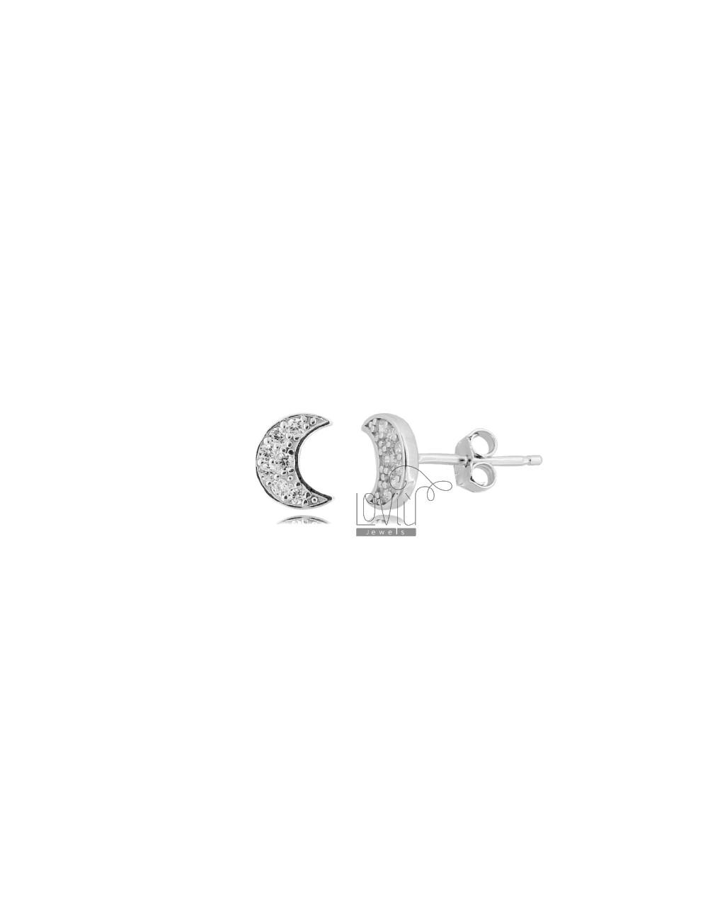 LOBO LUNA EARRINGS 8X6 MM SILVER RHODIUM TIT 925 AND WHITE ZIRCONIA
