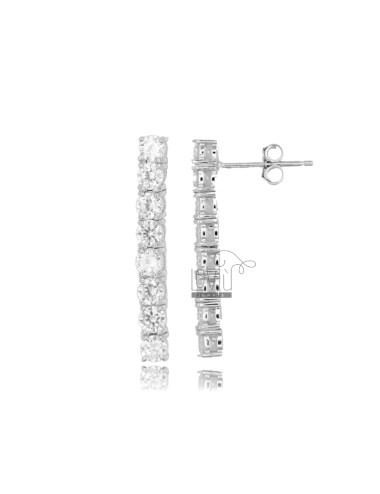 TENNIS EARRINGS MM 26X3 IN SILVER RHODIUM TIT 925 AND WHITE ZIRCONIA