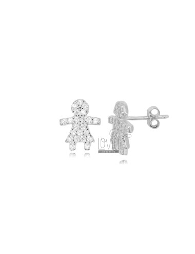 LOBO GIRL EARRINGS 12X10 MM SILVER RHODIUM TIT 925 AND WHITE ZIRCONIA