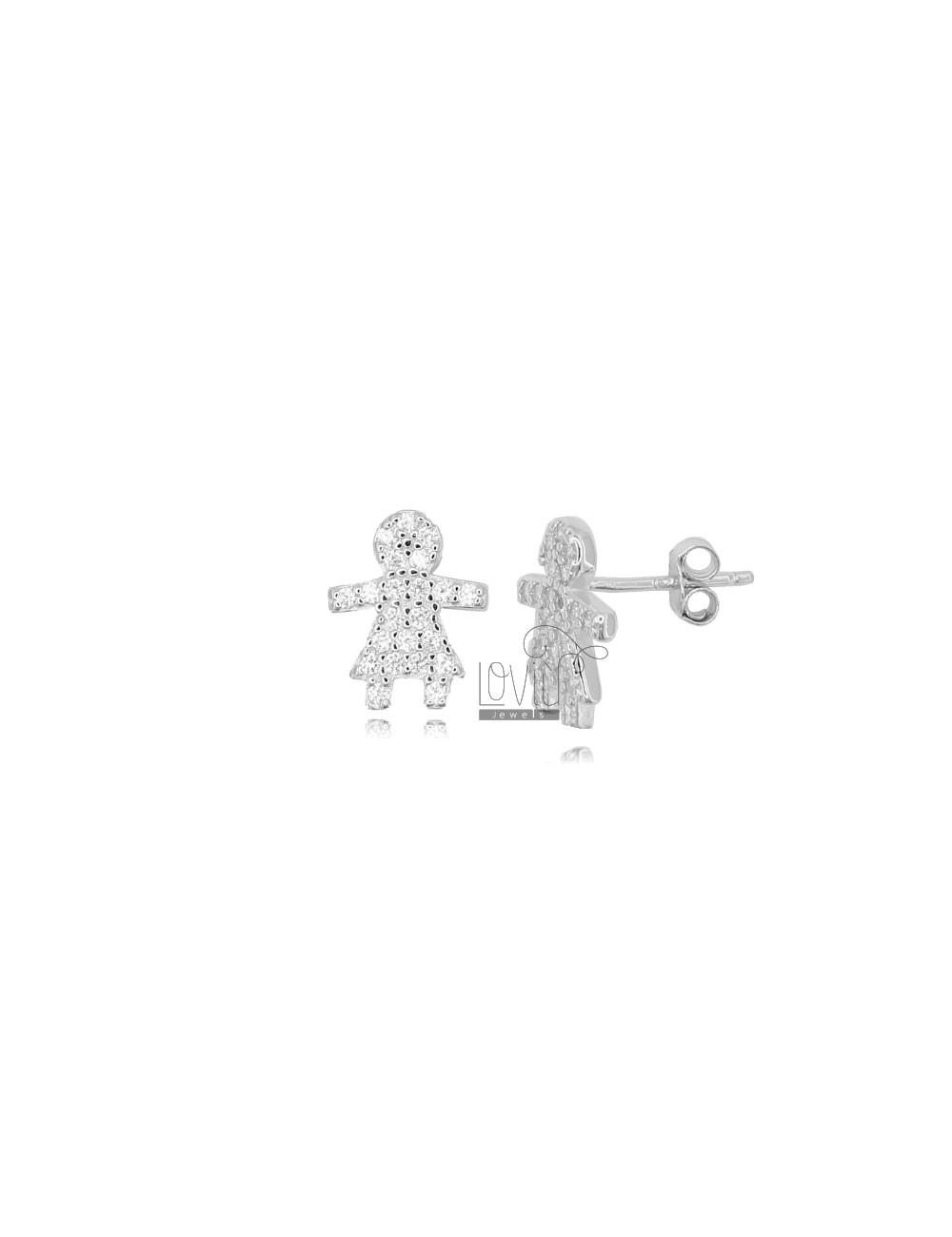 LOBO GIRL EARRINGS 12X10 MM SILVER RHODIUM TIT 925 AND WHITE ZIRCONIA