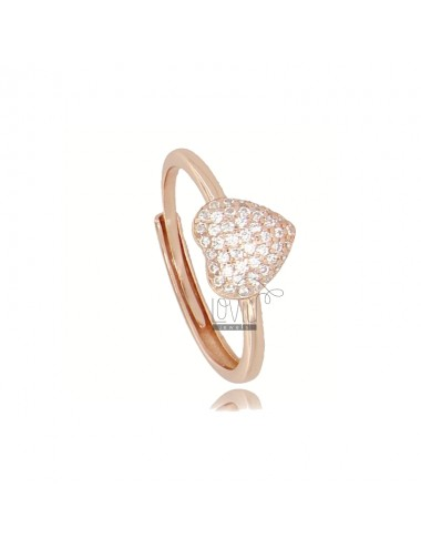 RING WITH HEART IN ROSE SILVER TIT 925 AND WHITE ZIRCONIA ADJUSTABLE SIZE FROM 12
