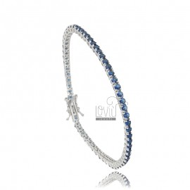 2,5 MM TENNIS BRACELET IN SILVER RHODIUM WITH BLUE ZIRCONIA 18 CM