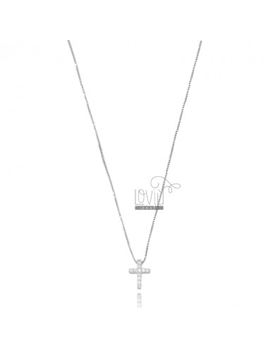VENETIAN CHAIN 45 CM WITH CROSS PENDANT 10X8 MM SILVER RHODIUM TIT 925 AND WHITE ZIRCONIA