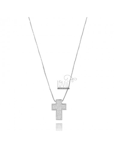 VENETIAN CHAIN 45 CM WITH CROSS PENDANT 17X13 MM SILVER RHODIUM TIT 925 AND WHITE ZIRCONIA
