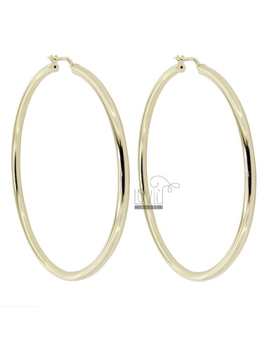 CIRCLE EARRINGS 60 MM ROUND ROD 3 MM GOLDEN SILVER TIT 925 ‰