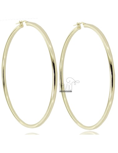 CIRCLE EARRINGS 70 MM ROUND ROD 3 MM SILVER GOLDEN TIT 925 ‰