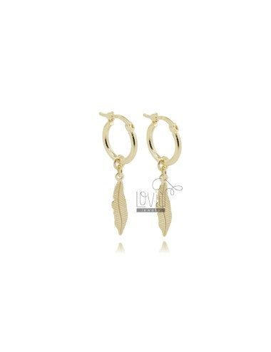 CIRCLE EARRINGS MM 15 BARREL MM 2 WITH FEATHERS IN GOLD PLATED SILVER TIT 925