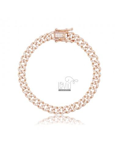 GROUMETTE BRACELET 6 MM IN ROSE SILVER TIT 925 AND WHITE ZIRCONIA 18 CM