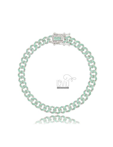 GROUMETTE BRACELET 6 MM SILVER RHODIUM TIT 925 AND GREEN ZIRCONIA 18 CM