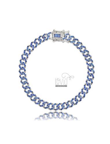 GROUMETTE BRACELET 6 MM SILVER RHODIUM TIT 925 AND BLUE ZIRCONIA 18 CM