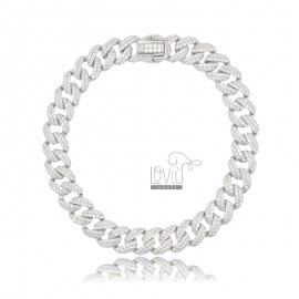 GROUMETTE BRACELET 8 MM SILVER RHODIUM TIT 925 AND WHITE ZIRCONIA 18 CM