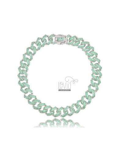 GROUMETTE BRACELET 8 MM SILVER RHODIUM TIT 925 AND GREEN ZIRCONIA 18 CM