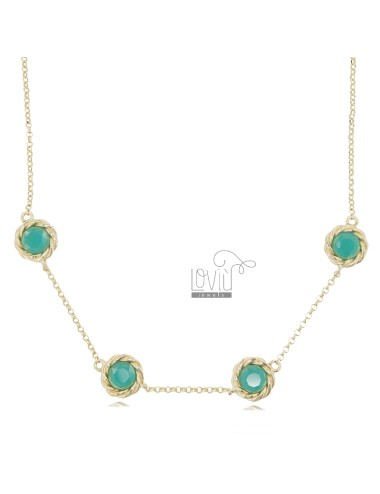 NECKLACE ROLO 'WITH 4 ROUND TORCHON WITH GREEN HYDROTHERMAL STONES IN GOLDEN SILVER TIT 925 CM 41-43