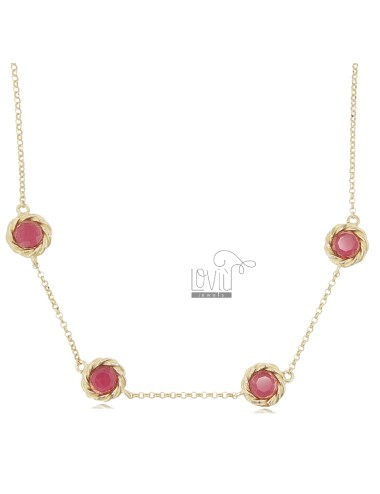 NECKLACE ROLO 'WITH 4 ROUND TORCHON WITH RED HYDROTHERMAL STONES IN GOLDEN SILVER TIT 925 CM 41-43