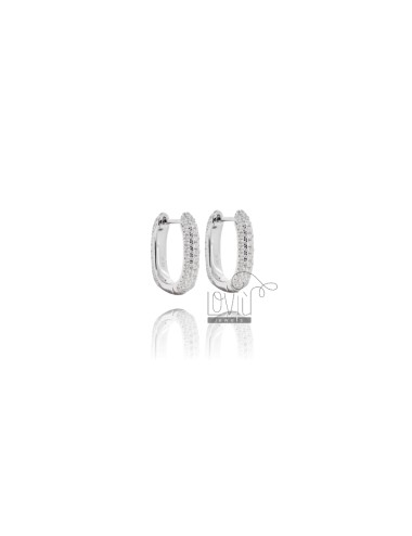 SNAP EARRINGS IN SILVER RHODIUM TIT 925 AND WHITE ZIRCONIA