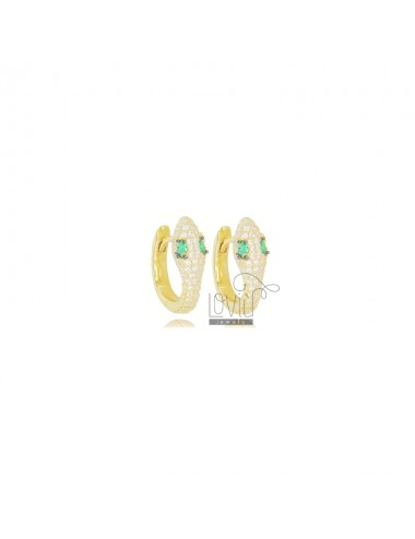 SNAKE SNAP EARRINGS IN GOLDEN SILVER TIT 925 AND WHITE AND GREEN ZIRCONIA