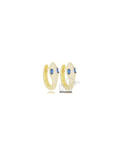 SNAKE SNAP EARRINGS IN GOLDEN SILVER TIT 925 AND WHITE AND BLUE ZIRCONIA