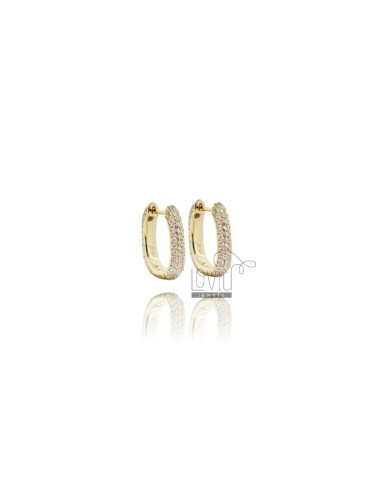 SNAP EARRINGS IN GOLDEN SILVER TIT 925 AND WHITE ZIRCONIA