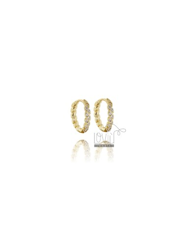 CIRCLE EARRINGS SNAP DIAM 10 IN GOLDEN SILVER TIT 925 AND WHITE ZIRCONIA