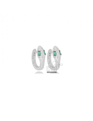 SNAKE SNAP EARRINGS IN SILVER RHODIUM TIT 925 AND WHITE AND GREEN ZIRCONIA