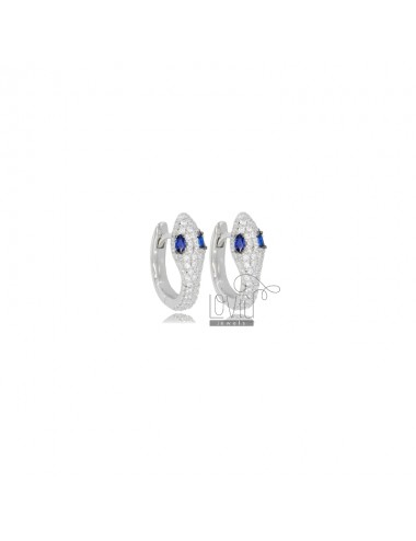 SNAKE SNAP EARRINGS IN SILVER RHODIUM TIT 925 AND WHITE AND BLUE ZIRCONIA