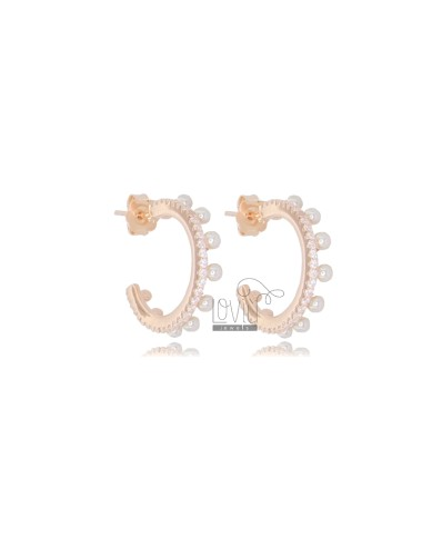 CIRCLE EARRINGS MM 13 IN ROSE SILVER TIT 925 AND WHITE ZIRCONIA AND PEARLS