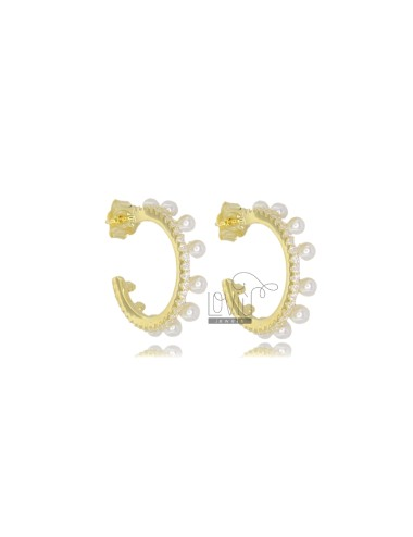 CIRCLE EARRINGS 13 MM SILVER GOLDEN TIT 925 AND WHITE ZIRCONIA AND PEARLS