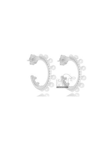 CIRCLE EARRINGS MM 13 IN SILVER RHODIUM TIT 925 AND WHITE ZIRCONIA AND PEARLS