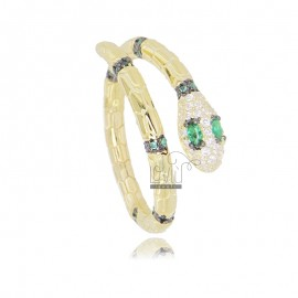 SERPENT RING IN GOLDEN SILVER TIT 925 AND WHITE AND GREEN ZIRCONIA ADJUSTABLE SIZE FROM 16
