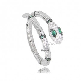 SNAKE RING IN SILVER RHODIUM TIT 925 AND WHITE AND GREEN ZIRCONIA ADJUSTABLE SIZE FROM 12