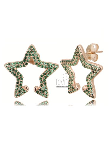 STAR EARRINGS 18X20 MM IN ROSE SILVER TIT 925 AND GREEN ZIRCONIA