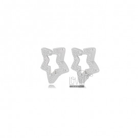 STAR EARRINGS 16X17 MM SILVER RHODIUM TIT 925 AND WHITE ZIRCONIA