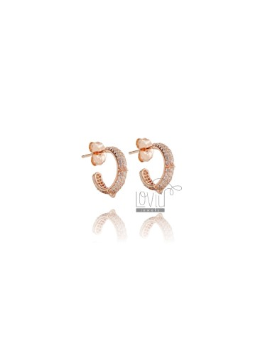 CIRCLE EARRINGS MM 10 IN ROSE SILVER TIT 925 AND WHITE ZIRCONIA