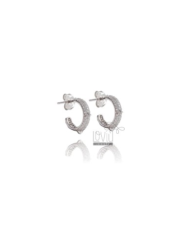 CIRCLE EARRINGS 10 MM SILVER RHODIUM TIT 925 AND WHITE ZIRCONIA