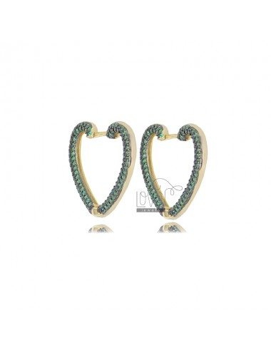 HEART EARRINGS 20X22 MM GOLDEN SILVER TIT 925 AND GREEN ZIRCONIA