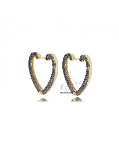 HEART EARRINGS 20X22 MM GOLDEN SILVER TIT 925 AND BLACK ZIRCONIA